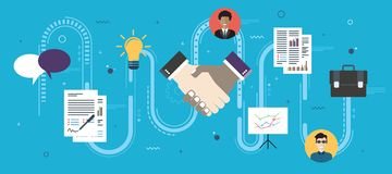 Cooperation strategy and handshake in contract agreement signature royalty free illustration