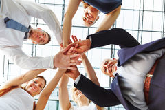 Cooperation and teamwork in business team royalty free stock image