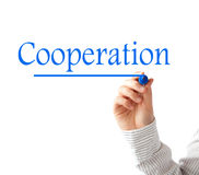Cooperation. Text isolated on white stock photo