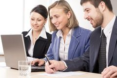 The cooperative work of business people royalty free stock photo
