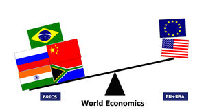 Cooperazione del paese di BRICS contro Eu S.U.A. fotografie stock libere da diritti