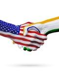 Cooperazione di concetto delle bandiere dell'India e degli Stati Uniti, affare, concorrenza di sport illustrazione di stock