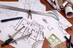 Coordenador, arquiteto ou plantas e ferramentas do contratante Imagem de Stock