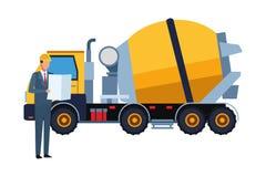 Coordenador de construção e caminhão do cimento colorido ilustração royalty free