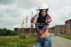 Coordenador de construção no canteiro de obras fotografia de stock royalty free