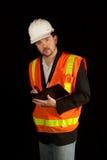 Coordenador de construção no capacete de segurança Foto de Stock Royalty Free