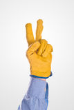 Coordenador de construção Raised Two Fingers para votar Fotos de Stock