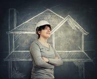 Coordenador de construção seguro da mulher imagens de stock