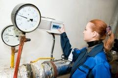 Coordenador do aquecimento no quarto de caldeira Imagem de Stock