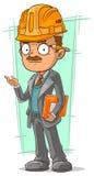 Coordenador inteligente dos desenhos animados com lápis ilustração stock