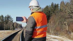 Coordenador Railway filmado na estrada de ferro filme