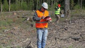 Coordenadores da floresta na floresta destruída vídeos de arquivo