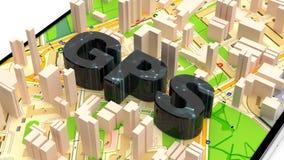 Coordinate di GPS Trovi una strada in una grande metropoli Mappe online Navigatore in vostra tasca illustrazione di stock