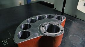 Coordinate Measuring Machine CMM Measures a Steed Detail with High Precision stock video footage