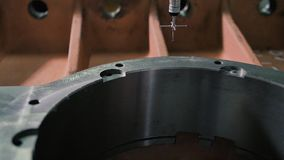 Coordinate Measuring Machine CMM Measures a Steed Detail with High Precision stock footage