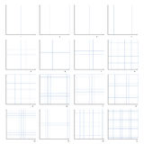 Coordinate plane four quarters. The isolated illustration of the first quarter of the coordinate plane. Sixteen variants from one to sixteen Stock Images