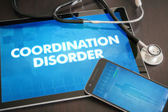 Coordination disorder (neurological disorder) diagnosis medical. Concept on tablet screen with stethoscope Stock Photo