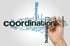 Coordination word cloud. Concept on grey background Royalty Free Stock Images