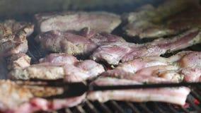 Coordonnées d'un homme faisant cuire la viande sur un gril de barbecue banque de vidéos