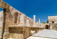 Coordonnées de Roman Theater à Amman Images stock