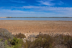 Coorong and sand dune Younghusband Peninsula across the water at. View of the Coorong and sand dune Younghusband Peninsula across the water at Coorong National Royalty Free Stock Photos