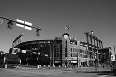 Coors Field - Colorado Rockies Black and White. Long view of mile high Coors Field, Denver home ballpark of Colorado Rockies Royalty Free Stock Image