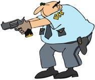Cop avec l'arme dessinée illustration stock