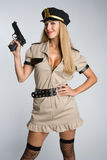 Cop avec le canon Photos libres de droits