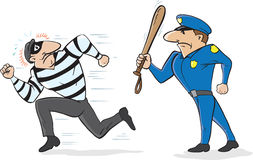 Cop chasing burglar. Cartoon of a policeman scaring away a burglar Royalty Free Stock Photo