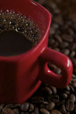 Cop Coffee and Coffee beans Royalty Free Stock Images