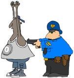 Cop die een verdachte arresteren Stock Foto's