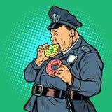 Cop eats donut. Pop art retro vector illustration kitsch vintage royalty free illustration