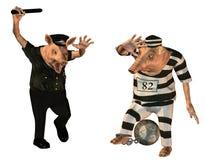 Cop et prisonnier comme porcs comiques illustration stock