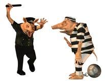 Cop fâché avec un porc de dessin animé de prisonnier illustration libre de droits