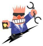 Cop Ferocious. Policeman angry arresting cartoon, vector illustration horizontal, over white, isolated Stock Photography