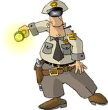 Cop with a Flashlight Stock Photography