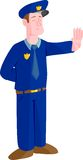 Cop isolated policeman police. A cop with closed eyes on a white background. Gesturing to stop Royalty Free Stock Image
