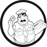 Cop. Logo which depicts a cop who loves donuts Stock Photography