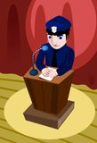 A Cop Making A Speech Royalty Free Stock Image