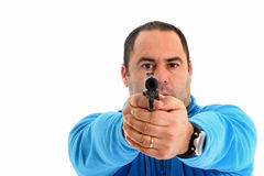 Cop with Pistol Royalty Free Stock Photography