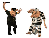 Cop and prisoner as swine comic. 3d rendering of a policeman who intimidate a detainee as an illustration in cartoon style Stock Photo
