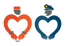 COP and prisoner icons in the form of hearts humorous  illustration Royalty Free Stock Photo