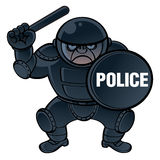 Cop. In protective equipment - helmet, shield and nightstick Royalty Free Stock Photos