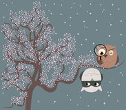 A Cop and a Thieve. Illustration of two cute owls sitting on a tree playing game of cat and mouse. One owl is a detective searching for a suspect who is hanging Stock Image