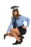 Cop van de dame het stellen met kanon Royalty-vrije Stock Afbeelding