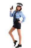 Cop van de dame het stellen met kanon op witte achtergrond Royalty-vrije Stock Foto's