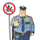 Cop warned. Cannabis prohibition - sign. Police warns - do not use cannabis and drugs Stock Image