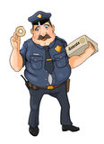 Cop. Who loves donuts very much Royalty Free Stock Images