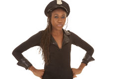 Cop woman with hat smile royalty free stock photos
