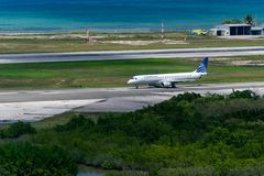 COPA Airlines aircraft on runway in Jamaica. Montego Bay, Jamaica - March 27 2015: COPA Airlines aircraft on runway at Sangster International Airport MBJ royalty free stock image